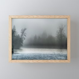 Remnant Of A Washed Out Bridge On A Foggy Afternoon Framed Mini Art Print