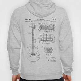 Gibson Guitar Patent - Les Paul Guitar Art - Black And White Hoody