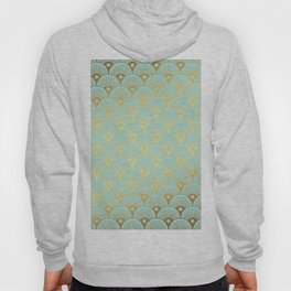 Art Deco Mermaid Scales Pattern on aqua turquoise with Gold foil effect Hoody