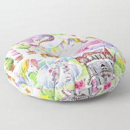 Princess with Unicorns and Dragons Floor Pillow