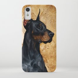 Black and Gold ( Doberman dog ) iPhone Case