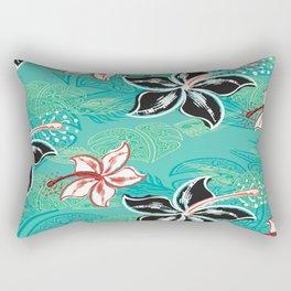 Black Hibiscus Jungle Print Rectangular Pillow