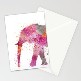 Artsy watercolor Elephant bright orange pink colors Stationery Cards