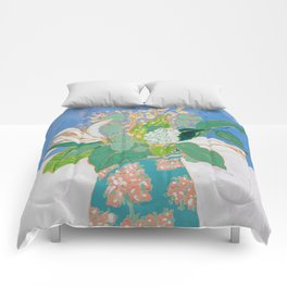Lily and Eucalyptus Bouquet in Blue and Peach Floral Vase Comforters
