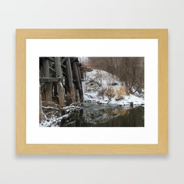 Winter River-Train Bridge Photo  Framed Art Print