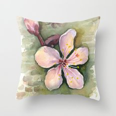 Cherry Blossom Watercolor Painting | Spring Flowers Throw Pillow