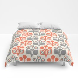 Mid Century Garden Flower Pattern Orange Grey Comforters