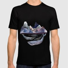 mountain and whales Black MEDIUM Mens Fitted Tee