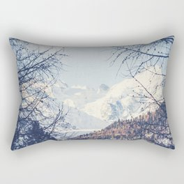 View of Snow Capped Mountains - Winter Peaks Rectangular Pillow