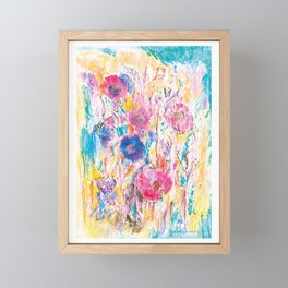 Meadow painting, floral pattern, flowers Framed Mini Art Print