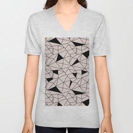 Blush pink black modern geometrical pattern Unisex V-Neck