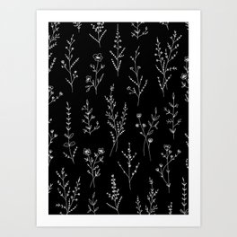 New Black Wildflowers Art Print