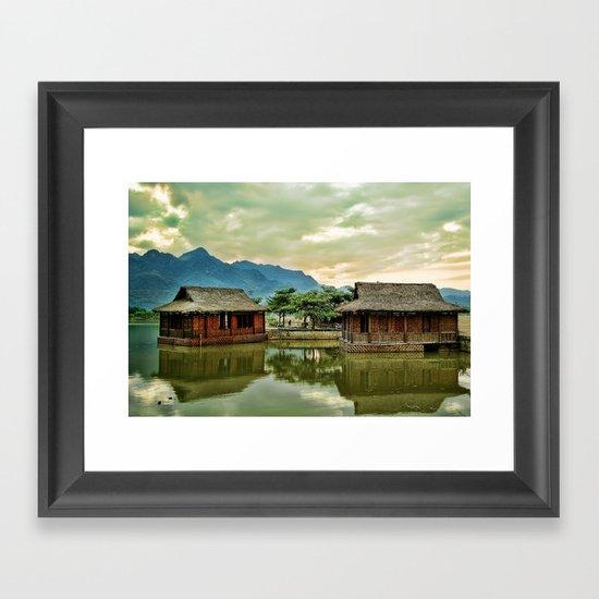 Water Huts Framed Art Print