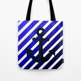 Anchor on blue lines Tote Bag