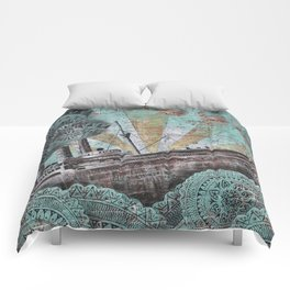 the boat wall Comforters
