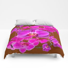 Coffee Brown Color Abstracted Modern Purple Moth Orchids Comforters
