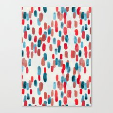 Watercolor Ovals - Red, Blue & Cream Canvas Print