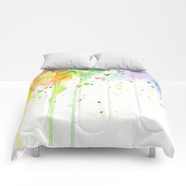 Watercolor Rainbow Splatters Abstract Texture Comforters