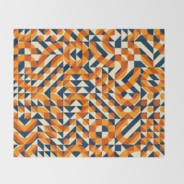 Orange Navy Color Overlay Irregular Geometric Blocks Square Quilt Pattern Throw Blanket
