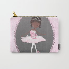 Pink & Grey Brown Ballerina Dancer Carry-All Pouch