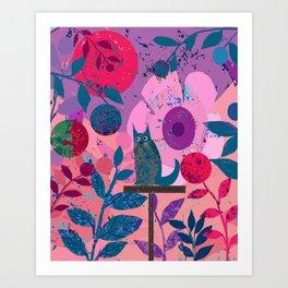 Blue Kitty on Pedestal Art Print
