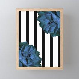 Blue roses on stripes Framed Mini Art Print