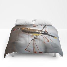 Cedar Waxwing on Branch Comforters