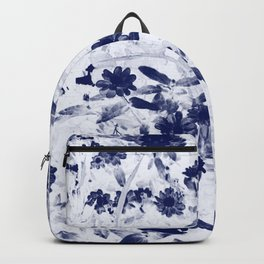 Blue floral duo tone photograph Backpack