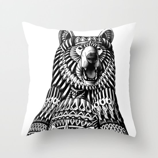 Ornate Grizzly Bear Throw Pillow