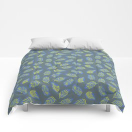 Leaves on Blue Gray Comforters