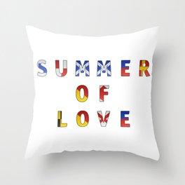 Summer of Love - Navy Code Throw Pillow