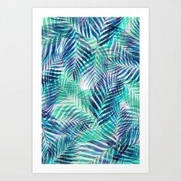 Palm Leaves - Indigo Green Art Print