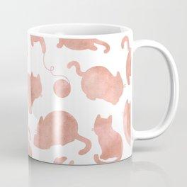 Cat Pattern Rose Gold Kitty Cats Coffee Mug