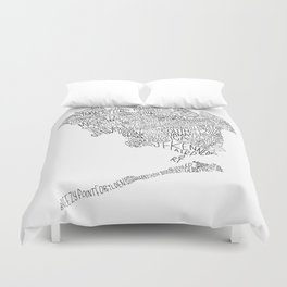 Queens - Hand Lettered Map Duvet Cover