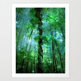Forest Of The Fairies Green Blue Art Print
