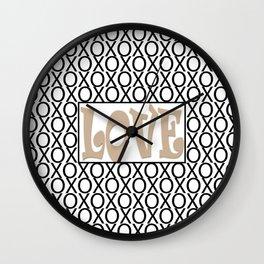 Pantone Hazelnut LOVE XOs (Hugs and Kisses) Typography Art Wall Clock
