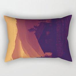 Monochrome Ombre Sunset Purple Orange Hues Cabin House by the Ocean Cliffs Rectangular Pillow