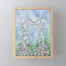 Garden Arbor with Pink and Lavender Flowers Framed Mini Art Print