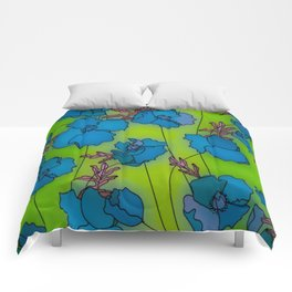 Neon Floral Composition Comforters