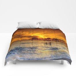 A Winter's Dip * Huntington Beach, California Comforters