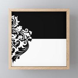 Black & White Inverted Damask Framed Mini Art Print