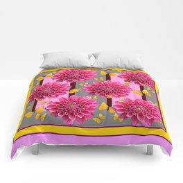 PINK DAHLIAS YELLOW BUTTERFLIES GREY ART Comforters