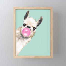 Bubble Gum Sneaky Llama in Green Framed Mini Art Print