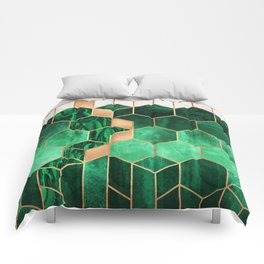 Emerald Cubes And Hexagons Comforters