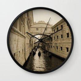 Bridge of Sighs, Venice, Italy, Sepia,  Wall Clock