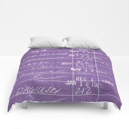 Library Card 23322 Negative Purple Comforters