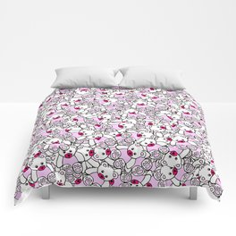 Cute Adorable Pink White Black Teddy Bear Collage Comforters