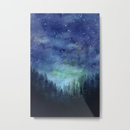 Galaxy Watercolor Aurora Borealis Painting Metal Print