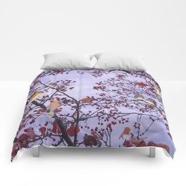 cedar waxwings and berries Comforters