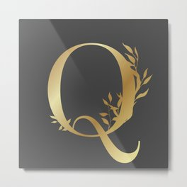 Monogram Gold Letter Q Metal Print